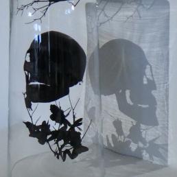 Crâne noir dans un grand verre