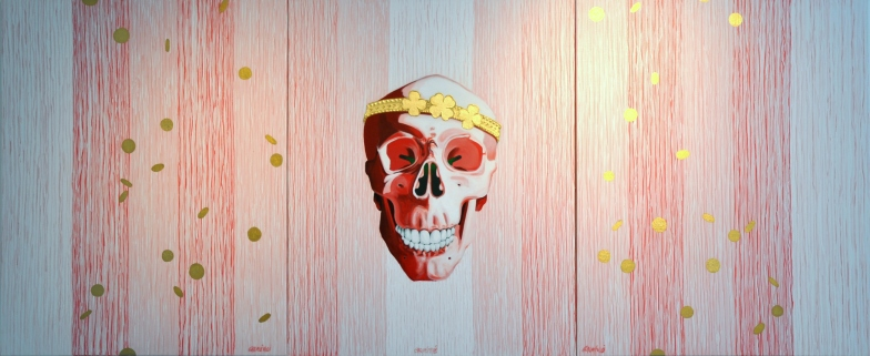 "Crâne à la couronne ""BINGO"" Acryl/toile 100/80X3"