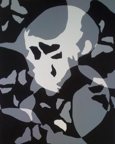 """""""7 crânes"""" acrylique 100X80"""